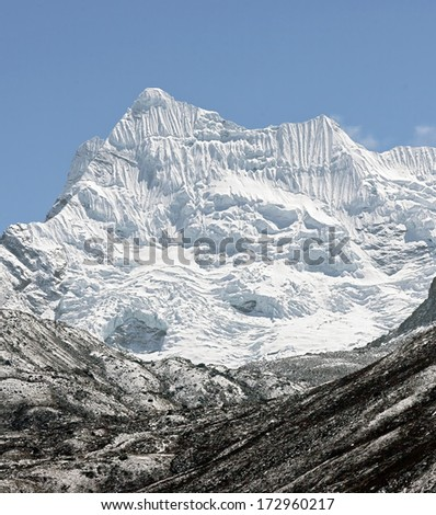 Glacier Chhukung and beautiful peak in the array in district Mount Everest - Nepal, Himalayas - stock photo