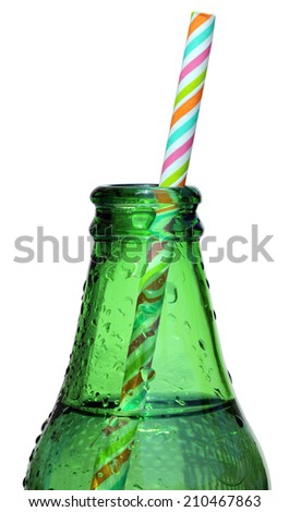 Glass Bottle of Cider with color striped straw isolated on a white background. - stock photo