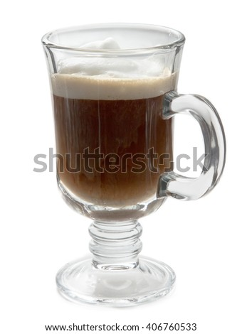 Glass of black coffee with milk cream, on a white background. Breakfast, caffeine and energy. Everyday favorite hot drink for home and cafe.  - stock photo