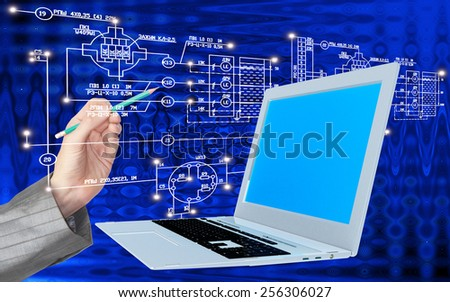 Global  innovative engineering computes Internet designing  for construction business - stock photo