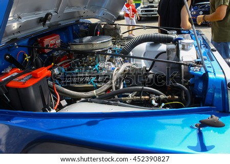 GLOUCESTER, VA - JULY 9, 2016: A Chevrolet engine in a Jeep Wrangler at the Collector Car Appreciation Day Car Show sponsored by the Middle Peninsula Classic Cruisers car club. - stock photo