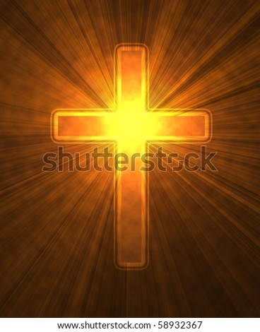 glowing cross on a black background, with radial rays of light - stock photo