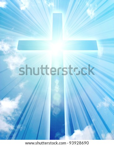 glowing cross on a sky, with radial rays of light - stock photo