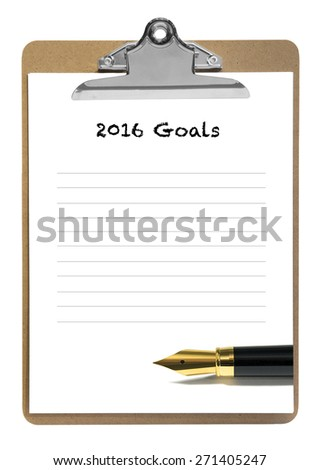 2016 goals note pad - stock photo