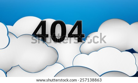 404 god not found Clouds blue background error 3d - stock photo