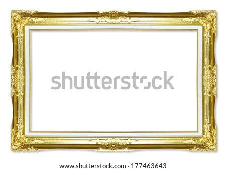 gold antique picture frames. Isolated on white background - stock photo