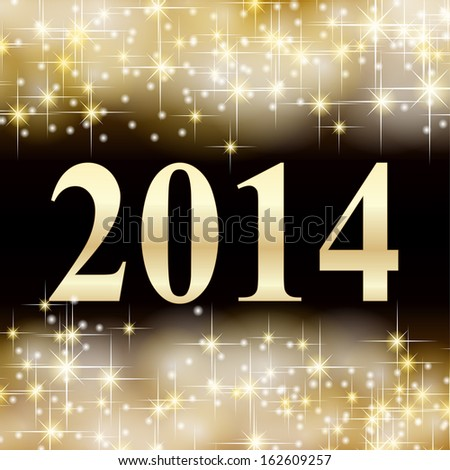 2014 gold background  - stock photo