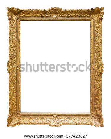gold frame. Isolated over white background, may be used for photo or picture  - stock photo