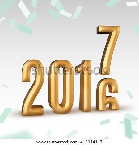 2016 gold number year change to 2017 new year in white studio room with confetti, New year concept,3D rendering. - stock photo