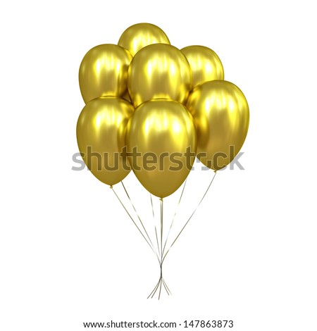 7 Golden Balloons - stock photo