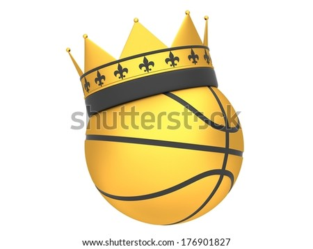 Golden basketball with crown isolated on white background - stock photo