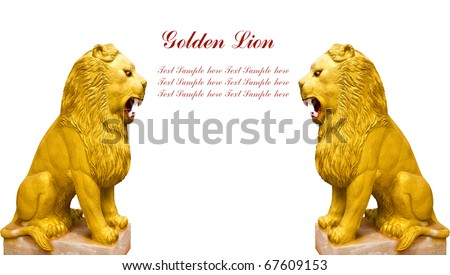 2 Golden lion statue on white background with space for your text - stock photo