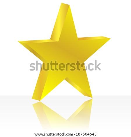 golden star on the white background. Raster illustration. - stock photo