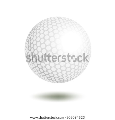 golf ball isolated on white. Golf ball.  illustration a traditional white golf ball. Golf element for design logo  - stock photo