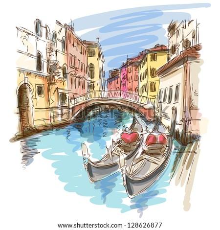 2 gondolas. Ponte del Mondo Novo, Campo S.Maria Formosa. Venice, Italy. Bitmap copy my vector - stock photo