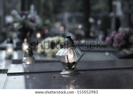graves on  catholic cemetery - stock photo