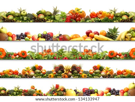 5 great nutrition textures made of many different elements - stock photo