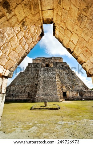 Great Pyramid of Uxmal Yucatan Mexico - stock photo