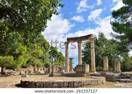Greece Olympia, ancient ruins of the important Philippeion in Olympia - UNESCO world heritage site   - stock photo
