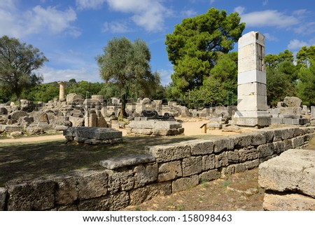 Greece Olympia, ancient ruins of the temple of Zeus, it most important building in the Altis in Olympia, birthplace of the olympic games  -   UNESCO world heritage site   - stock photo