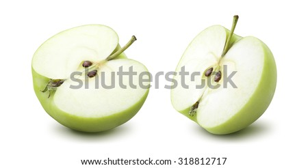 2 green apple half options isolated on white background as package design element - stock photo