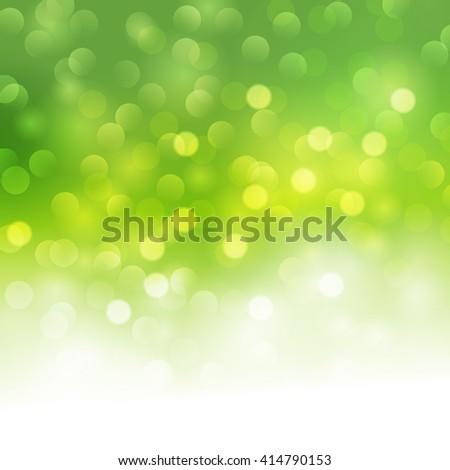 green bokeh light background. Summer green light banner - stock photo