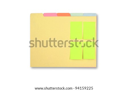 4 green note clipped on a file folder isolated on white background. - stock photo