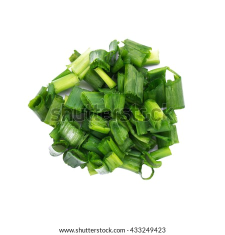 Green onions, sliced ??isolated on a white background - stock photo