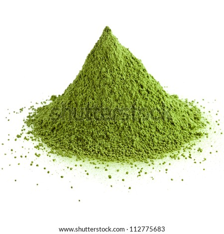green powder heap isolated on white background - stock photo