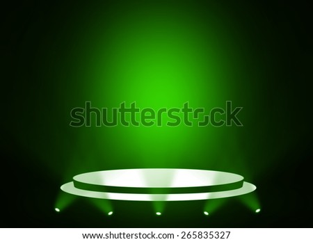 Green stage theater background  - stock photo