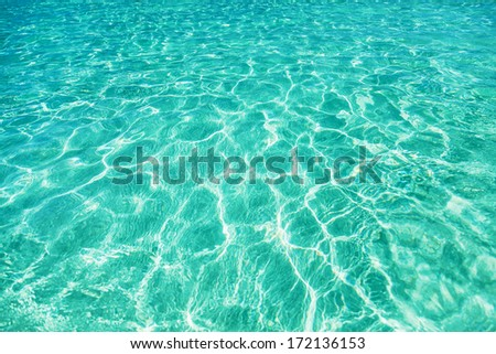 Green water background. Elafonisi Beach, Crete, Greece  - stock photo