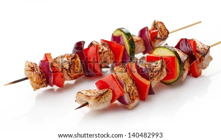 grilled pork fillet and vegetables isolated on white background, pork barbecue - stock photo