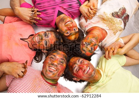 group of happy young people - stock photo