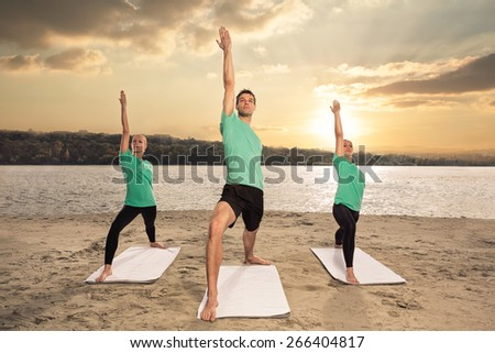 group of people doing workout - stock photo