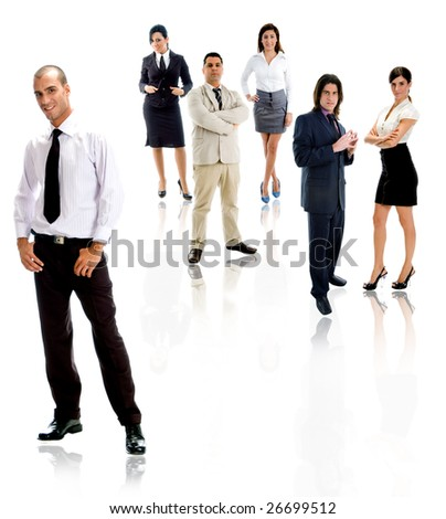 group of people on white background - stock photo