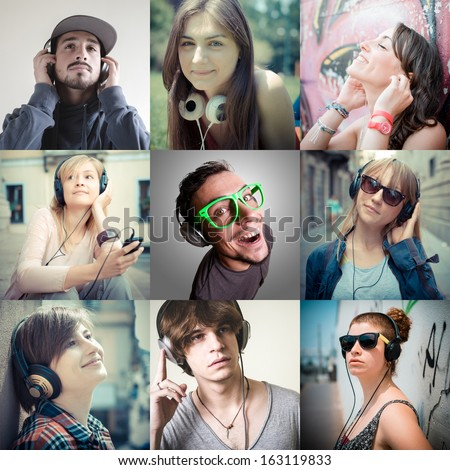 group of various people listening to music  - stock photo
