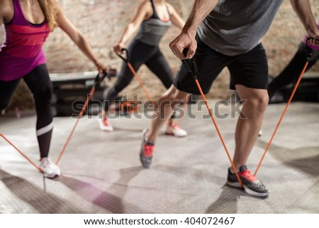 Group training, fitness, sport, training and lifestyle concept  - stock photo
