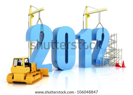 2012 growth, building, improvement in business or in general concept in the year 2012, on a white background - stock photo