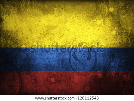 Grungy Colombian Flag on Vintage Paper - stock photo
