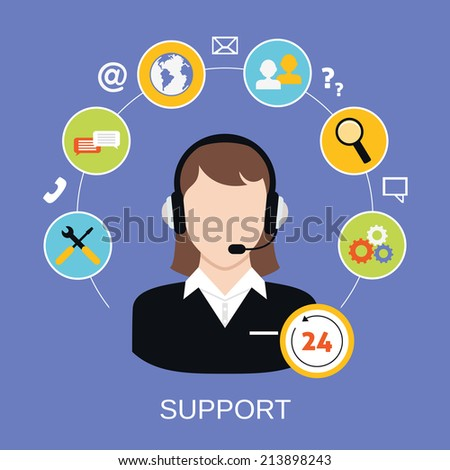 24h online worldwide available customer support helpdesk woman operator service concept  illustration - stock photo