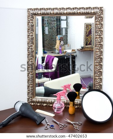 hair salon with equipment - stock photo