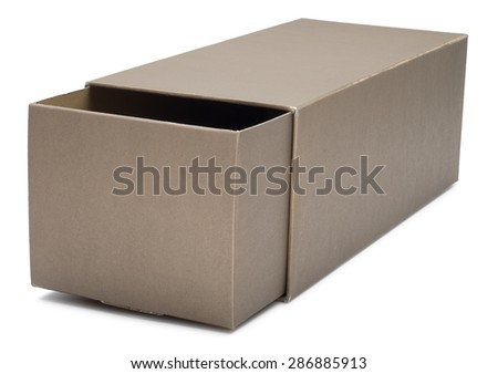 Half-open retractable cardboard box isolated on white. With shadow. - stock photo