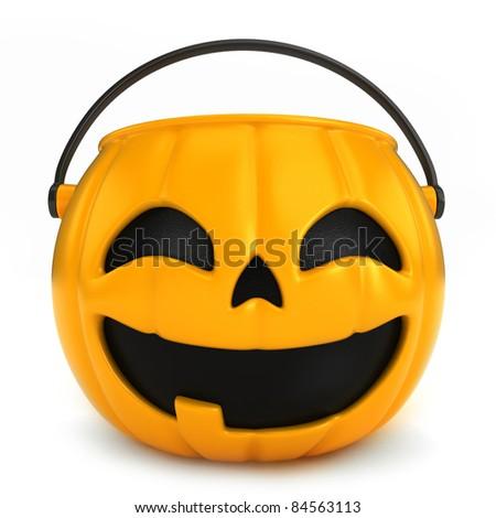0063_Halloween - 3D render of an empty halloween basket - stock photo
