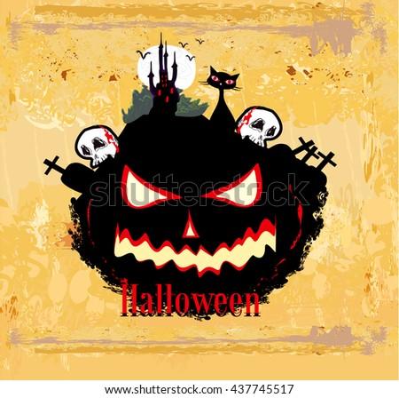 Halloween invitation poster  - stock photo