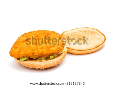 hamburger on white background - stock photo