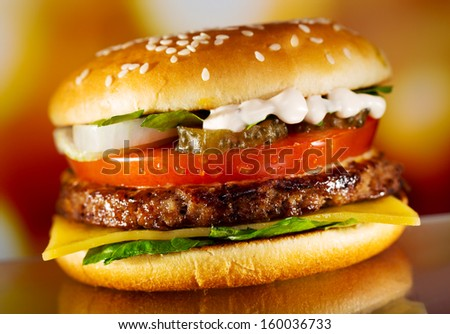 hamburger with fresh vegetables - stock photo