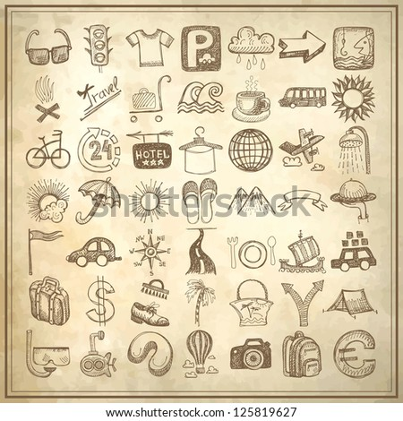 49 hand drawing doodle icon set on grunge paper background, travel theme, raster version - stock photo