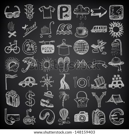 49 hand drawing doodle icon set, travel theme on black background, raster version - stock photo