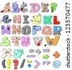 hand-drawn funny alphabet - stock photo