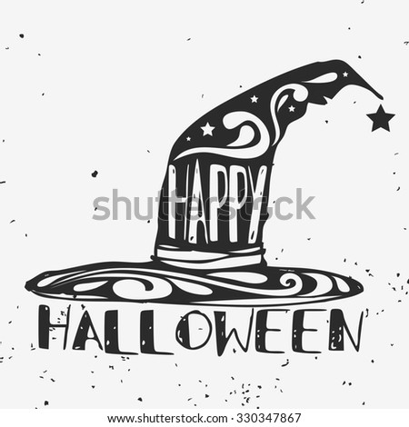 hand drawn typographic poster. Happy halloween. Grunge texture. Lettering. T-shirt design, label, invitation, decor elements, greeting & postal cards. Halloween series - stock photo